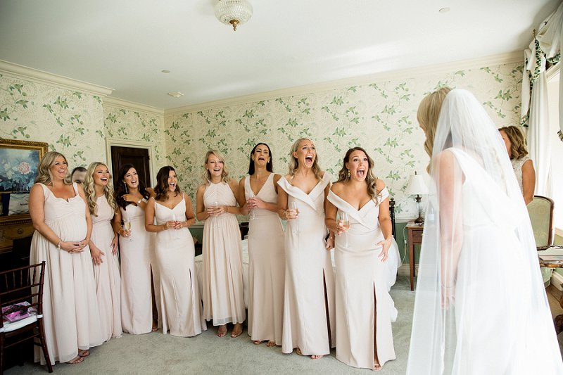 first look with bridesmaids at hamilton farm golf club