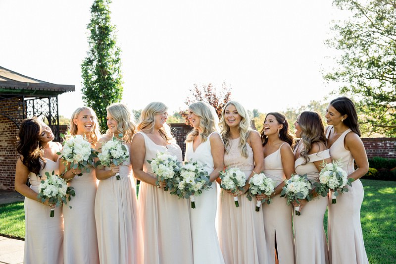 light pink bridesmaids for fall wedding at hamilton farm golf club