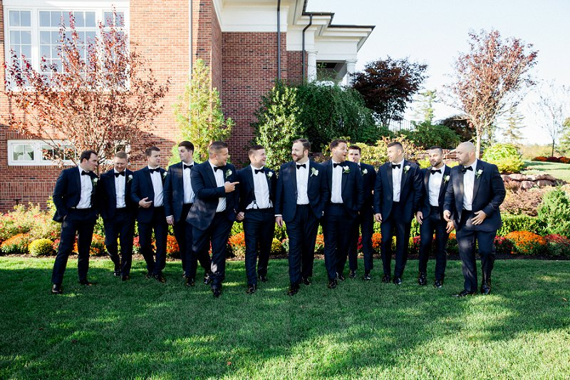 navy suits for groomsmen for fall wedding at hamilton farm golf club