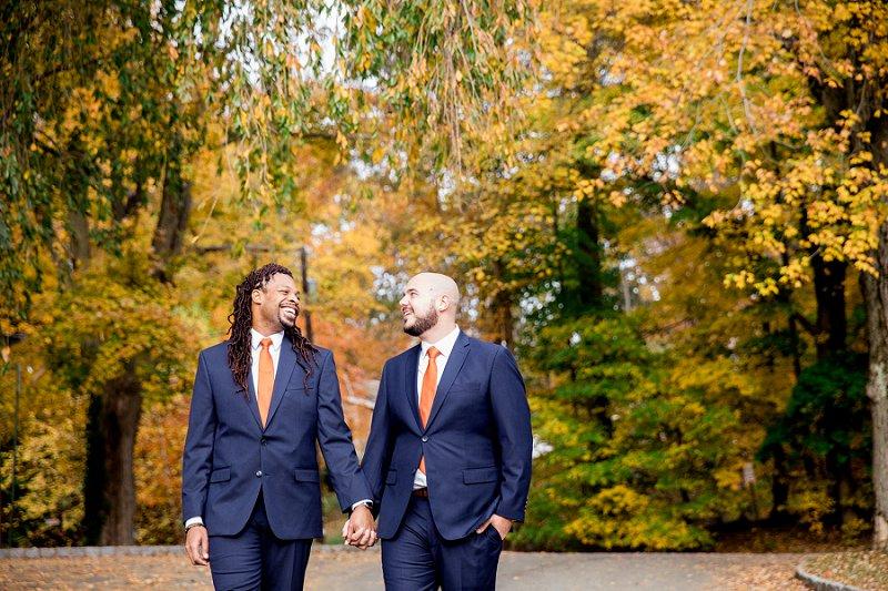 fall gay wedding at morris museum