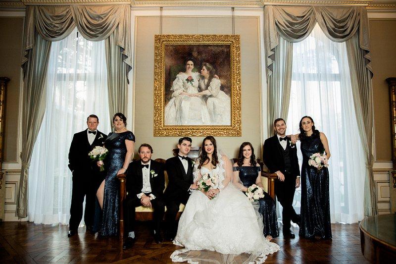 indoor photos of bridal party at TPC Jasana Polana