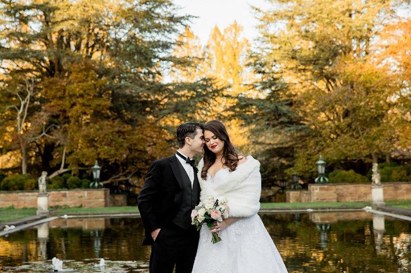 wedding photos in the fall at TPC Jasana Polana