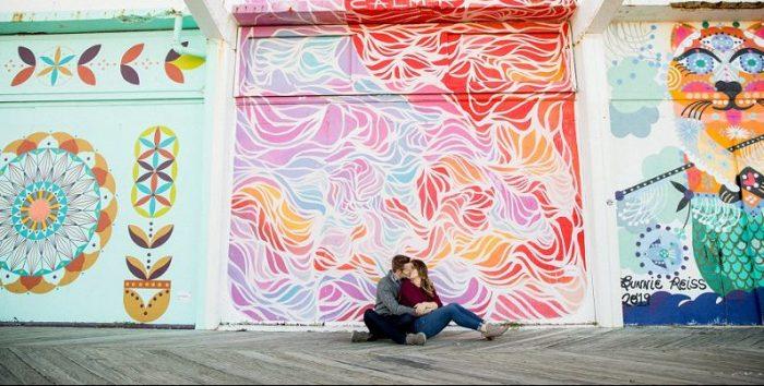 asbury park boardwalk engagement photo ideas