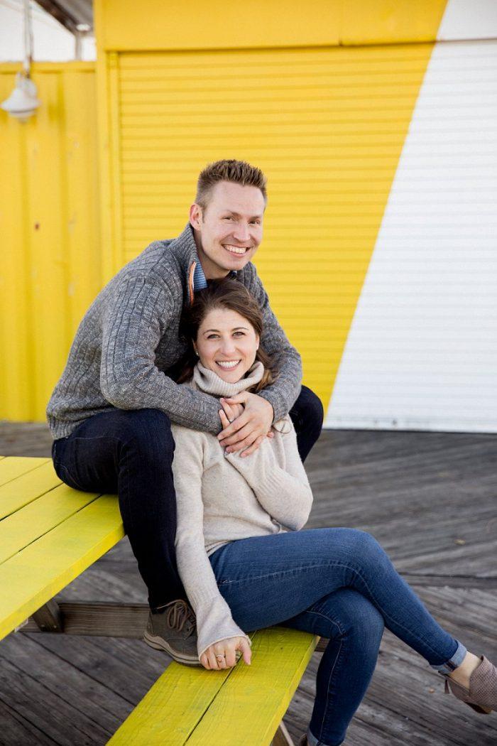 winter asbury park boardwalk engagement photos