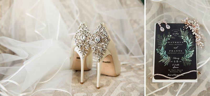 badgley mischka wedding day shoes, princeton nj winter wedding