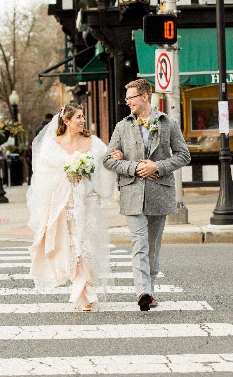 bride and groom walking in princeton nj wedding photo ideas