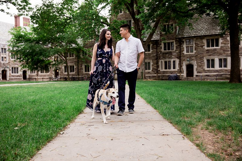 couple with their puppy for an engagement session