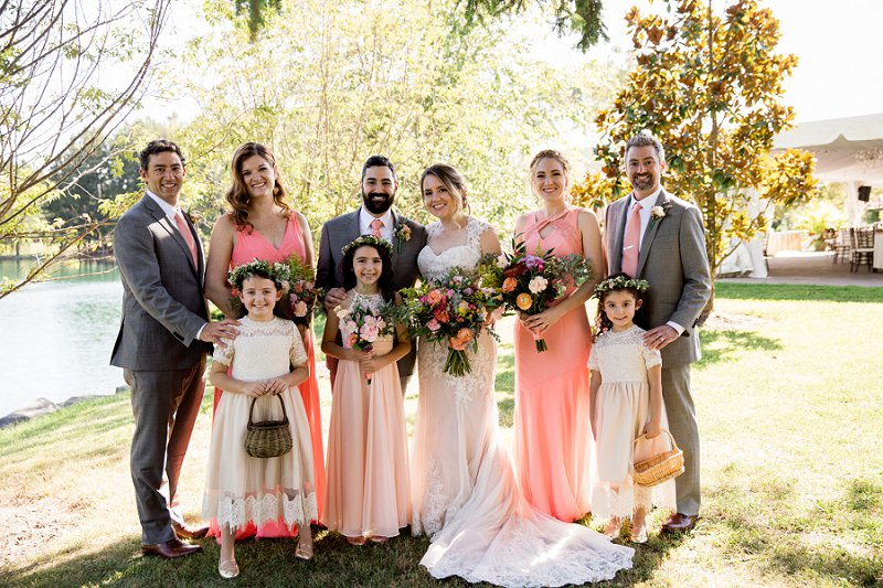 pink and gray bridal party looks